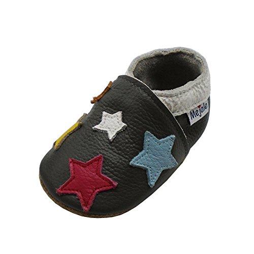Mejale Cuir Chaussures bébé Chaussons bébé Chaussures pour Enfants Chaussons - Gris foncé, étoiles colorées, 18-24 Mois
