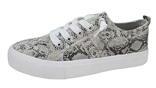 Jellypop Women's Kory Sneaker, Grey Snake Fabric, 9.5