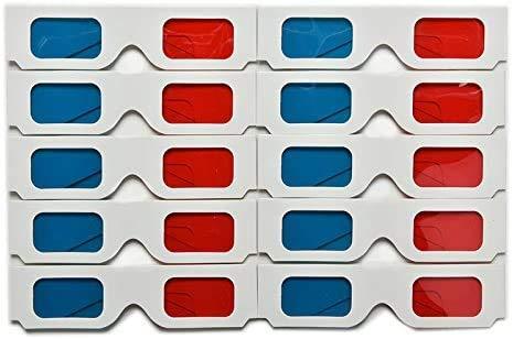 10 gafas 3D rojo/azul cian tarjetas de papel 3D anaglifo gafas 3D