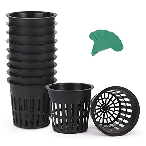 GROWNEER 25 Packs 4 Inch Garden Slotted Mesh Net Cups, Heavy Duty Net Pots with 25Pcs Plant Labels, Wide Lip Bucket Basket for Hydroponics