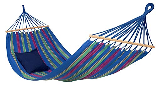 AMAZONAS hangmat Aruba Juniper weerbestendig en UV-bestendig 210 x 120 cm tot 180 kg blauw gestreept