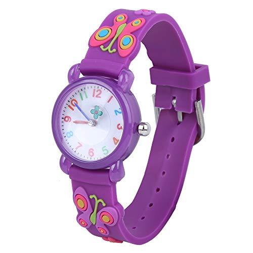Kinder Cartoon Uhr, niedliche exquisite Muster Kinder Armbanduhr wasserdichte Silikonarmbanduhr für Kinder Kleinkind Jungen Mädchen 3-12 Jahre alt(Lila)