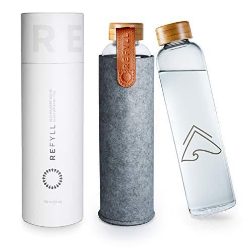 REFYLL Botella de cristal con funda de fieltro