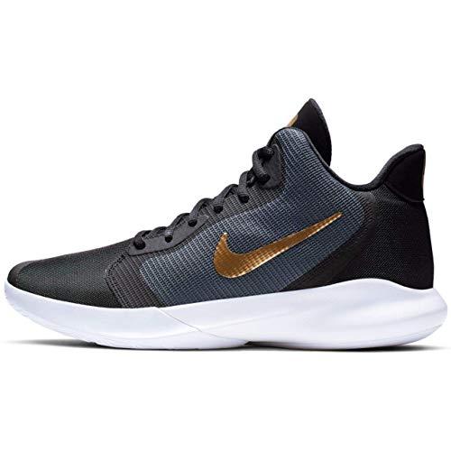 Nike Precision III Basketball Shoe (Dark Grey/Metallic Gold-White, 11 M US)
