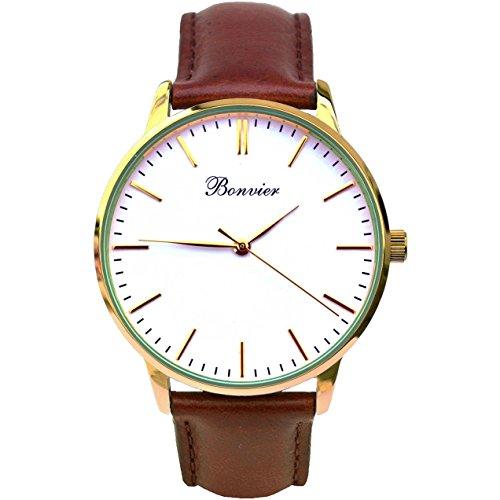 Bonvier Classic Herren-Armbanduhr 40mm Armband Leder Braun Gehäuse Edelstahl Batterie Analog BW005