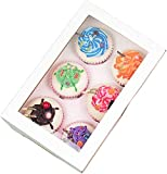 25 x 6 Hole Cupcake Boxes White with Window 6 Inserts per Cupcake Box Each Holds 6 Cupcake Cupcakes Muffin Muffin Boxes Cake Mini Cupcake Box Boxes and are Cardboard Cupcake Boxes