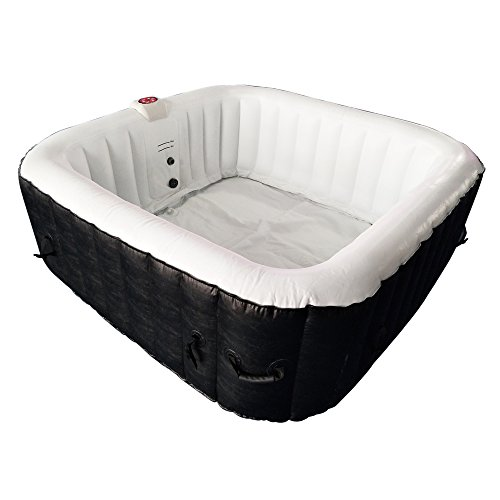 ALEKO HTISQ6BKWH Square Inflatable Hot Tub Spa with Cover, 6 Person Portable Hot Tub - 250 Gallon Black and White