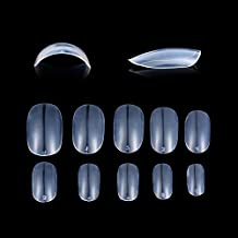 Fake Nails 1200pcs diy nail art 10 Sizes Fake Nails Short Oval Nails Round Nails Full Cover Artificial Glue On Nails Natural/Clear/White The acrylic nail (Oval Clear)