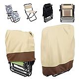 HaavPoois Funda para silla reclinable apilable de jardín, cubierta para silla apilable, impermeable, resistente al polvo, resistente a los rayos UV, protector de sillas para muebles de exterior