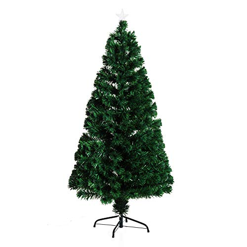 HOMCOM Árbol de Navidad 150cm Artificial Árboles de Abeto con Soporte Fibra Óptica Brillante LED Multicolor Ignífugo