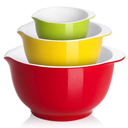 Mixing Bowls, LIFVER Large Non-Slip Porcelain Serving Bowls, Easy To Clean, Nesting Bowls for Space Saving Storage, Great for Cooking, Baking, Prepping, 0.5 Quart, 1.6 Quart, 3.5 Quart