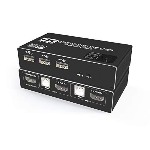 HDMI KVM Switch USB 2 Port 4K @ 60Hz,USB Switcher with 3 USB 2.0 Ports, KVM Switch 2 PC 1 Monitor, KVM USB Umschalter,Ultra HD,mit 2 USB Kabeln