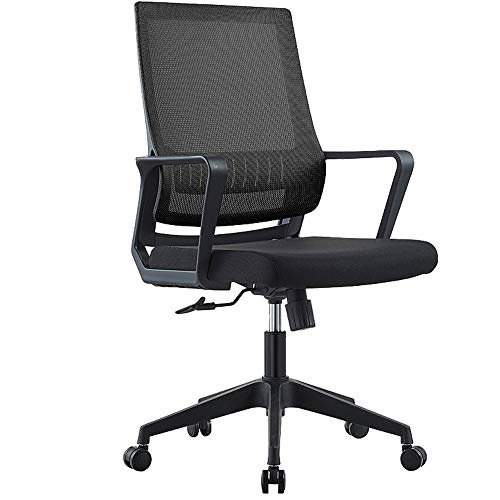 Computer Chair With Armrest ,Office Chair Ergonomic Desk Chair Mesh Lumbar Support Modern Executive Adjustable Stool Rolling Swivel Chair For ,Breathable And Comfortable, First-class Enjoyment,Black,w