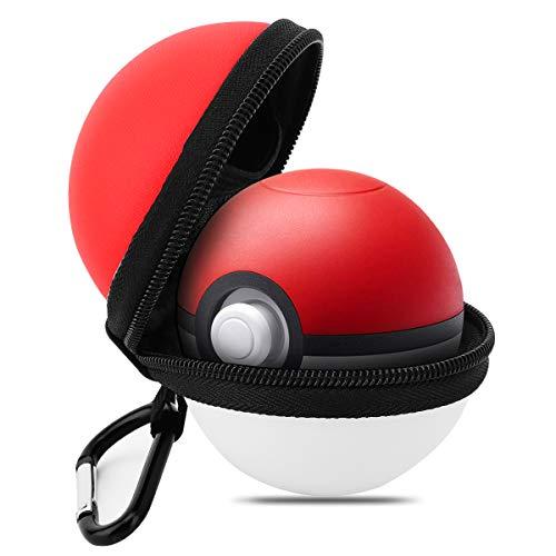 MoKo Hülle Kompatibel mit Nintendo Switch Poke Ball pokémon Plus Controller, Tragbar Tasche Eva-Schutzhülle für die Reise Aufbewahrungstasche für den Switch Pokeball Plus Controller - Rot + Weiß
