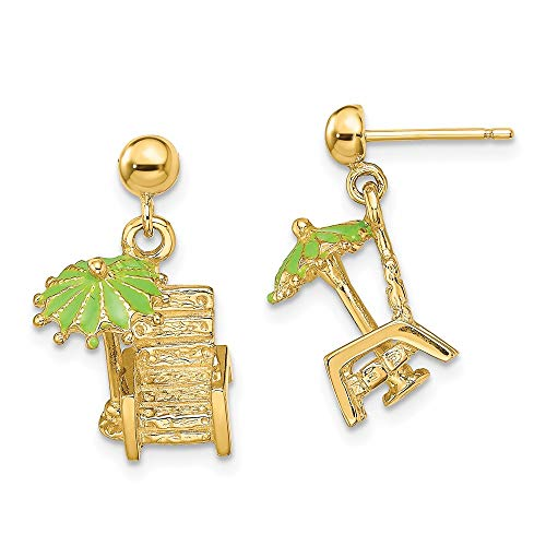 14ct Yellow Gold 3-D Beach Chair with Green Enameled Umbrella Earrings