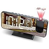 JIGA Despertador Digital Radio FM Despertador Proyector 180° con 7' Pantalla LED de Espejo Puerto USB Alarma Doble 4 Niveles Snooze de Brillos Reloj Despertador Digital para Cocina,Dormitorio,Oficina
