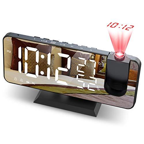 """JIGA Despertador Digital Radio FM Despertador Proyector 180° con 7\"""" Pantalla LED de Espejo Puerto USB Alarma Doble 4 Niveles Snooze de Brillos Reloj Despertador Digital para Cocina,Dormitorio,Oficina"""