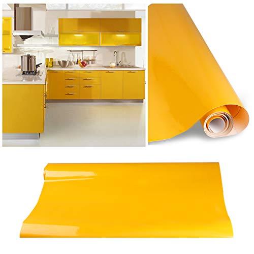 KINLO Pellicola da Cucina Giallo 60x500cm Fatta di Adesivi in PVC per Armadio Carta da Parati...