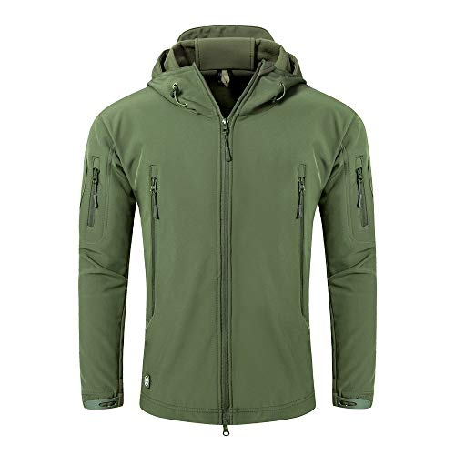 ANTARCTICA Men's Outdoor Waterproof Soft Shell Hooded Military Tactical Jacket (Army Green, Large)