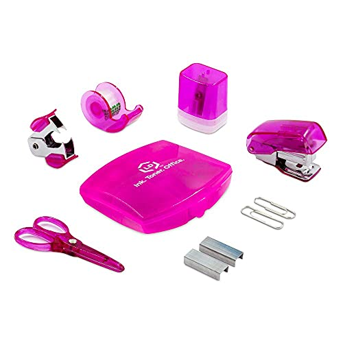 LD Pink Mini Office Supply Kit – Portable Case with Scissors, Paper Clips, Tape Dispenser, Pencil Sharpener, Stapler & Staple Remover