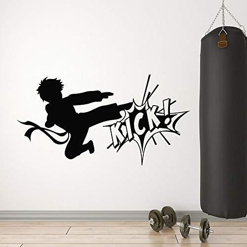 yaonuli Karate Fighting Kicking Artes Marciales Pegatinas de Pared Deportes Gimnasio Mural Pegatinas de Pared decoración de la Pared extraíble decoración del hogar 46X88cm