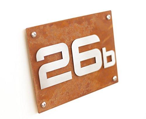 Hausnummernschild Hausnummer Corten Stahl Design mit Wunschnummer & Straßenname