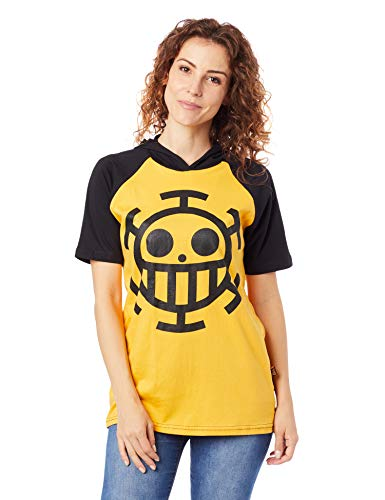 Camiseta One Piece Law Com Capuz, Piticas, adulto e infantil unissex, Preto, 10