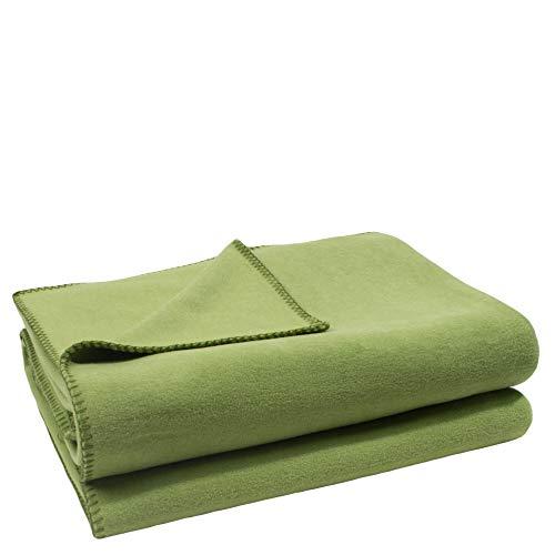 Soft-Fleece-Decke – Polarfleece-Decke mit Häkelstich – flauschige Kuscheldecke – 180x220 cm – 650 green – von 'zoeppritz since 1828', 103291-650-180x220