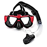 HUOFEIKE Buceo Profundo a Prueba de Agua Gafas Anti-vaho Tubo de respiración, Snorkeling Turismo Equipo de Snorkeling Pesca bajo el Agua operación natación Entrenamiento Adultos,Red