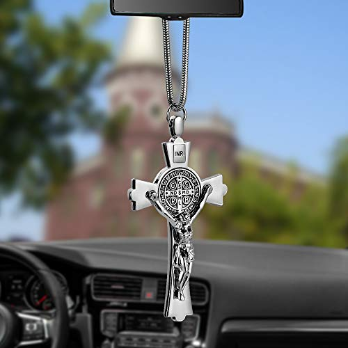 EING Metal And Crystal Diamond Cross Jesus Christian Car Rear View Mirror Pendant Hanging Car Styling Accessories Auto Decoration,Silver
