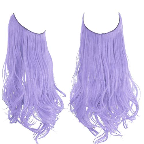Colored Hair Extensions Lilac lavender Light Purple Curly Long Synthetic Halo Hairpiece 18 Inch 4.2 Oz Invisible Wire Headband for Women Girl Kid Party Heat Resistant Fiber No Clip SARLA(M01&Lilac)