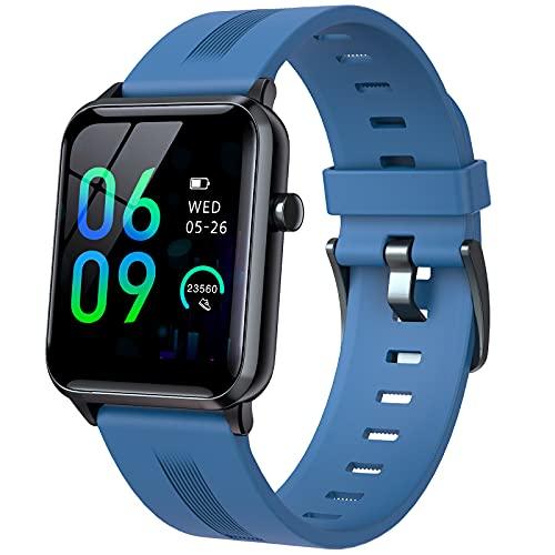 QFSLR Smartwatch, Reloj Inteligente Impermeable IP68 para Hombre Mujer con Monitor De Frecuencia Cardíaca Monitor De Presión Arterial Seguimiento del Sueño para Android iOS,Azul