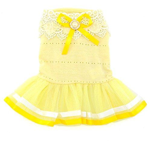 SMALLLEE LUCKY STORE Pet Kleine Fell-Kostüm Baumwolle Petal Kragen Prinzessin Kleid Tutu Band,