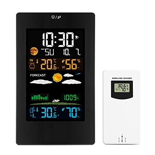 DriSubt Estación meteorológica a color con sensor de interior para exteriores inalámbrico, temperatura, humedad, monitor de presión atmosférica, pronóstico del tiempo.