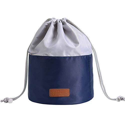 LIVACASA Neceseres para Maquillaje Mujeres con Cordones Elásticos Bolsas de Aseo Cosméticos con Asa 1 Bolsa de PVC Extraíble Ligero Azul Oscuro