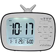 OCTING Digital Alarm Clock Programmable Alarm, Calendar, Indoor Temperature, Smart Sensor Light