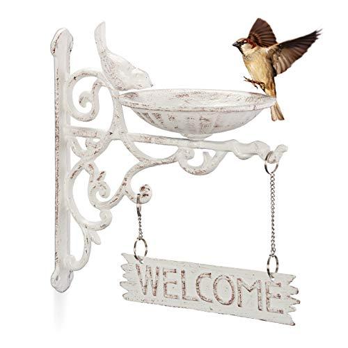 Relaxdays Vogeltränke Gusseisen, Welcome Schild, Gartendeko, Wandmontage, Vintage, Wasserschale für Wildvögel, weiß