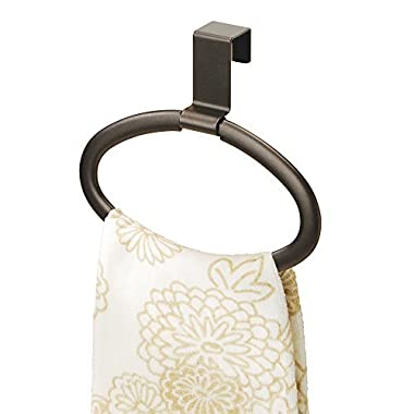 mDesign Modern Kitchen Over Cabinet Strong Steel Round Towel Holder - Hang on Inside or Outside of Doors, Storage and Organization Oval Ring for Hand, Dish, and Tea Towels - 6.5  Wide, Bronze Finish
