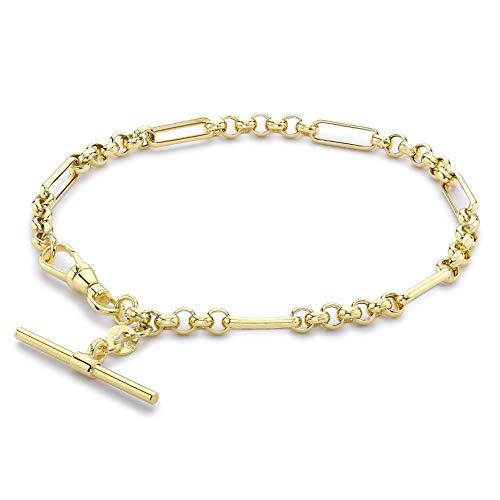 Carissima Gold Women's 9ct Yellow Gold 24.8mm X 1.7mm T-Bar Figaro Belcher Chain Albert Clasp Bracelet 19cm/7.5'
