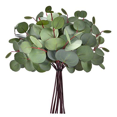 Sunm Boutique 8 Stück künstliche Pflanzen künstlicher Eukalyptus Grün Eukalyptusblatt Kunstblumen Pflanzen für Party Home Garten Haus Büro Hochzeit Decor (graugrün)