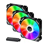corpuwn 120mm RGB Case Fan 3 Pack Quiet Computer Cooling PC Fans 12V High Airflow Gaming Computer Fan with Controller Hub