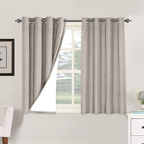 Linen Blackout Curtains 45 Inches Long 100% Total Blackout Heavy-Duty Draperies for Bedroom Living Room Thermal Insulated Textured Functional Window Treatment Anti Rust Grommet (Taupe, 2 Panels)