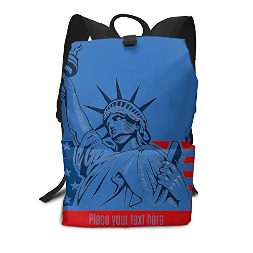 Travel Large Hiking Sport Backpacks Statue of Liberty NYC USA Flag and Symbol Student Work Laptop Daypack Book Bag
