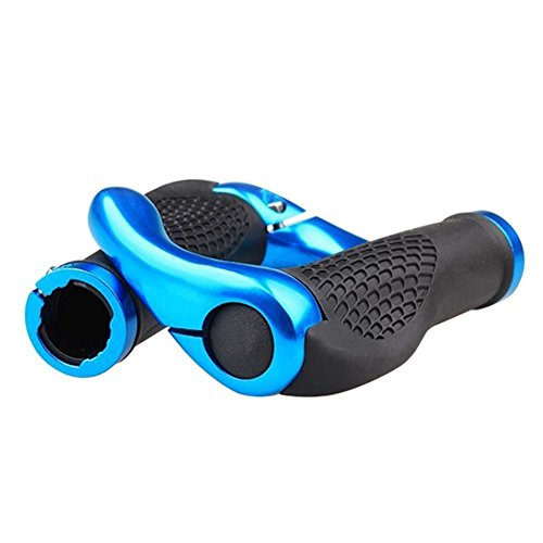 BlueSunshine The Comfiest Ergonomic Bicycle Handlebar Rubber Grips with Anti-Slip Contoured Design and Aluminum Alloy Inner Ring Clamps (Blue)
