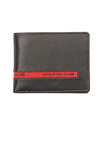 Billetera Piel Athletic Club Bilbao Oficial Color Negro con Pespunte en Rojo...