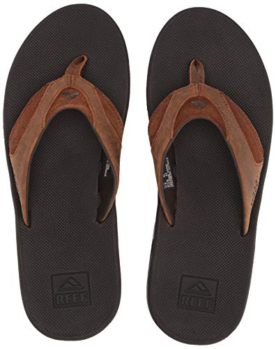 Reef Herren Leather Fanning Flipflop, BRZ, 44 EU