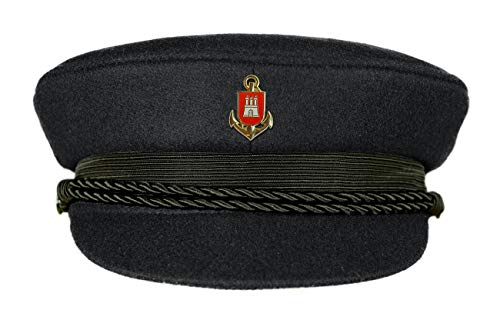MADSea Elbsegler Premium Tuch mit Pin Hamburg Wappen Anker schwarz, Größe:57, Pins:HH Wappen Anker