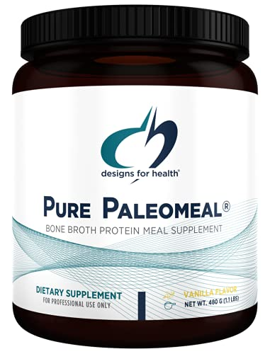 Designs for Health Pure PaleoMeal - Bone Broth Protein Powder with 17g Protein, Meal Replacement Shake Dietary Supplement with Folate + Chelated Minerals, Vanilla (15 Servings / 480g)