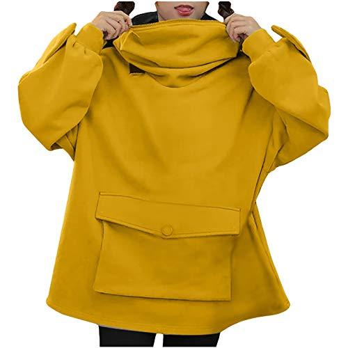 Julhold Blusa Plus Size for Women Creative costura tridimensional lindo diseño rana suéter con bolsillo (amarillo, 3XL)