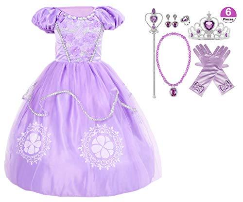 YOGLY Kinder Mädchen Prinzessin Sofia Kleid Kostüm Verkleidung Geburtstag Party Ankleiden Karneval Faschingskostüm Halloween Hochzeit Festkleid Blumenmädchenkleid Abendkleid